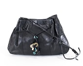Leather Turquoise Fringe Bag Black Leather Slouch Purse Gypsy Coin Clutch