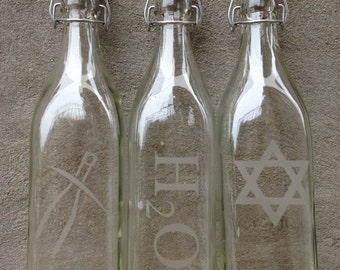 Custom Engraved Square Glass Swing Top Bottles - 1 Liter - Personalize Yours