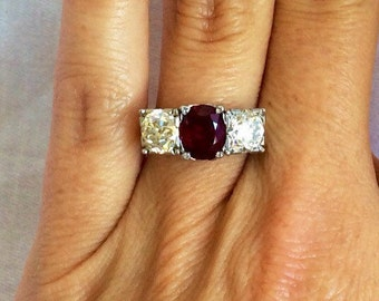 Vintage Victorian Ruby and Diamond Three Stone Ring, Engagement Ring
