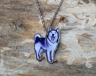 Husky / Malamute in Icy Night Sky Splash Necklace