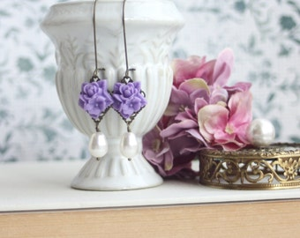 Purple Lavender Flower Bouquet, White or Ivory Pearls Antiqued Brass Dangle Earrings. Lilac Wedding. Fall Purple Wedding. Bridesmaids Gifts