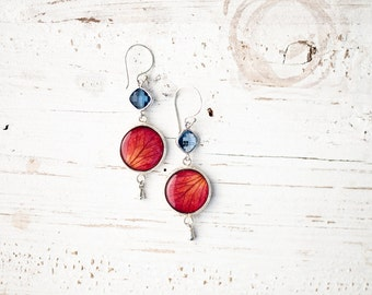 Red rose earrings with Blue quartz - Red drop earrings - Red silver earrings -  Red flower jewelry - Red dangle earrings (E142)