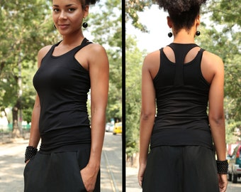 Yoga Top, Fitted Top, Black Top, Loose Tank Top, Black Tank Top, Sleeveless Blouse, Summer Top, Halter Neck Top, Black Fashion Top