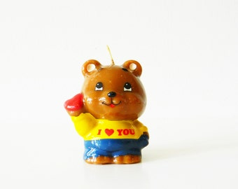 Vintage Bear Candle / Cute I Love You Bear / Retro Novelty Candle / Unused Kitschy Bear Candle