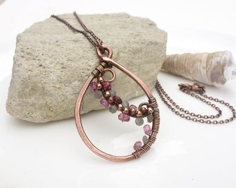 Apatite and pink tourmaline necklace, wire wrapped copper necklace, pink and aqua gemstone teardrop pendant, handmade copper jewelry
