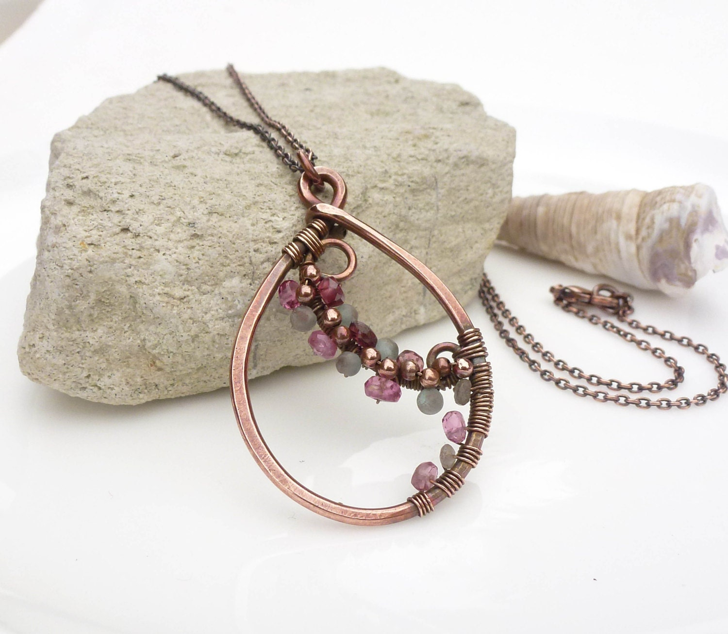 apatite and pink tourmaline necklace wire wrapped copper. Black Bedroom Furniture Sets. Home Design Ideas