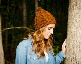 Chunky Cable Knitted Winter Wool Pom-Pom Hat in Amber Brown (C06)