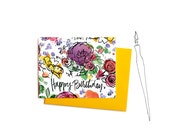 Watercolor Flowers Happy Birthday Card, Single Pretty Birthday Greeting Card with Handwritten Typography
