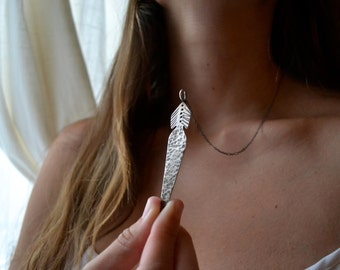 Feather Blade Silver Necklace