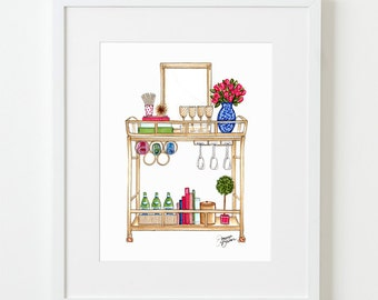 Well Appointed Bar Cart Illustration Art Print / Home Decor, Bar Cart Illustration, Bar Cart Decor, Bar Cart Wall Art Print, Hostess Gift