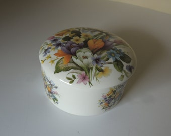 Lovely English Round Floral Porcelain Lidded Box. Made in England Stafford Royal Fine Bone China Box. Victoria Secret Vanity Container.