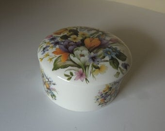 Lovely English Round Floral Porcelain Lidded Box. Pretty Spring Flowers Vanity Container