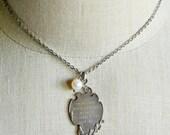 Vintage Medal, Société De Gymnastique Schaerbeek, 1908 - 1933, Fisch & Co, Pearl Necklace, Silver Medal, Assemblage Necklace