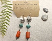EARRINGS Turquoise and Coral and Sterling Silver Handmade tribal boho ethnic style