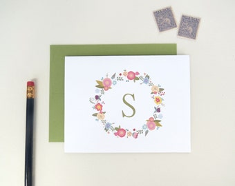 Personalized Floral Monogram Stationery Set of 10 Blank Inside Cards and Envelopes