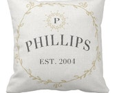 Christmas Gift Pillow Cover Cotton Anniversary Gift Personalized Family Last Name