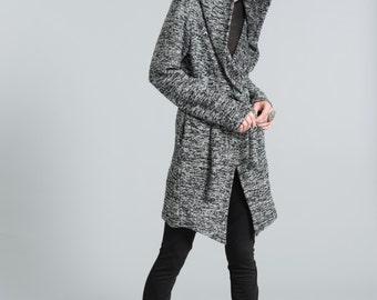 Oversize Hoody Cardigan / Belted Sweater / Hoodie / Belted Hoody / Oversize Designer Sweater Jacket / marcellamoda - MC383