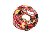Lilanga Infinity Scarf - Bold Print Satin Lilanga Artist Design Bright Red Pink Black White Yellow Green Brown Silky Satin Couture Loop