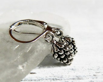 Tiny Pinecone Earrings Antique Silver Earring Silver Pine Cone Earrings Boho Woodland Mountain Forest Wedding Outdoors Valentine Gift Her