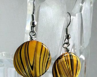 Black and Goldish Striped Disc earrings