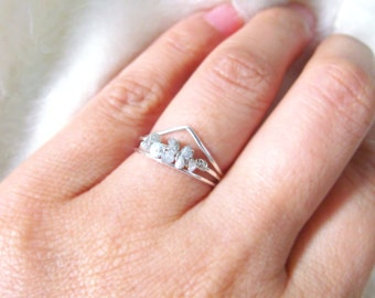 white raw diamond silver uncut diamond ringrough diamond engagement ring