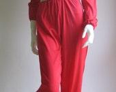 70s 80s vtg red jumpsuit