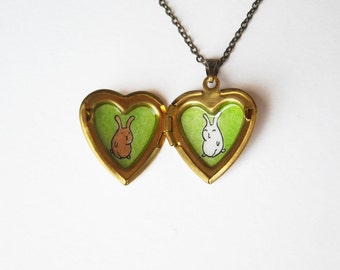 Bunny Locket Necklace - Heart Locket with Hand Painted Rabbits - Easter Gift - Cute Bunny Pendant - Rabbit Locket - Bunny Jewelry
