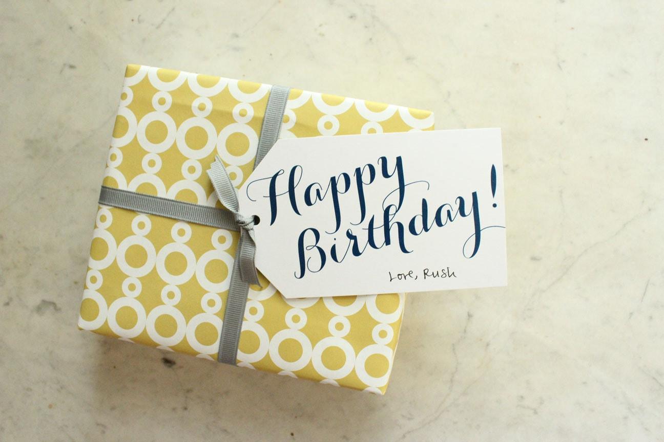 Birthday Tags: Happy Birthday Gift Tags Navy Blank