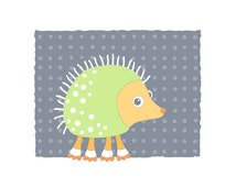 Hedgehog art, childrens art, whimsical animal illustration, cute nursery wall art, kids room decor, baby room, gray, green