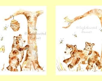 2 Nursery Bear Prints, Bear Nursery, Forest Nursery Prints, Bear Painting, Woodland Nursery Set, Woodland Nursery, Bear Nursery Decor