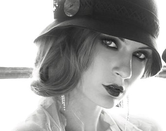 20's wool cloche, you choose the color- 1920's style hat with black trim 1920's flapper cloche 1930's hat