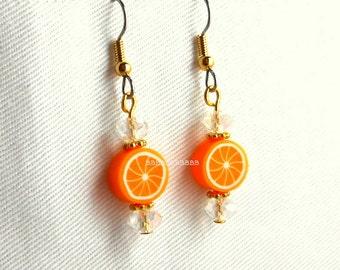 Citrus Orange Crystal Earrings - Surgical Steel French Hooks