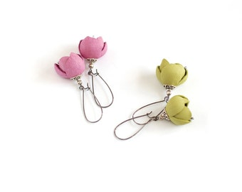 Modern style leather earrings in pink rose or lemon green