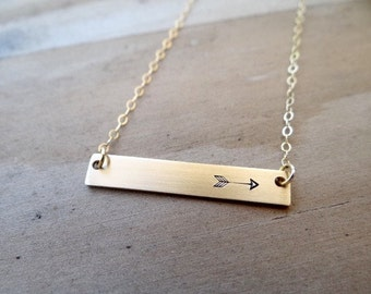 Gold Bar Necklace with Arrow. Hand Stamped Jewelry.  Minimalist, 14k Gold.  Layering Bar Necklace, Arrow Jewelry, Follow your Arrow