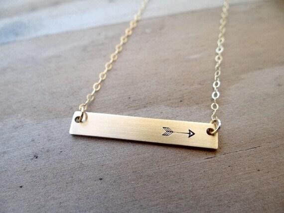 ... Jewelry. Minimalist, 14k Gold. Layering Bar Necklace, Arrow Jewelry