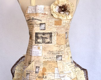Womens Apron, French Script Print, Lace Retro April In Paris, With Double Ruffles and Rose Pin