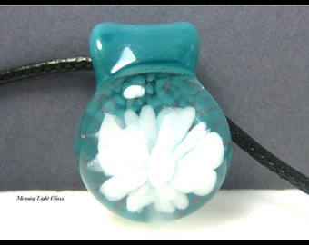 Fresh Tropical Teal Glass Flower Pendant, Implosion Lampwork Necklace