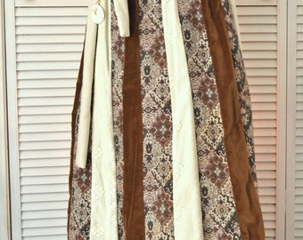 Vintage Womens 70s 80s Maxi Skirt/Chessa Davis/Velveteen Lace & Brocade/Renaissance/Elastic Waist/Theater Costume Boho Gypsy Medium brown