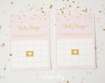 Pink and Gold Bingo Baby Shower game - Instant Download - Printable // BS - 08