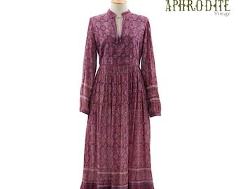 Vintage 70's Indian Cotton Gauze Floral PAISLEY Phool Puff Sleeves Festival Hippie Boho Full Skirt DRESS
