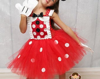 Minnie Mouse Inspired Costume- Minnie Mouse Dress- Minnie costume- Mickey Mouse- Disney- Minnie Mouse- 1st Birthday... SZ 0-4