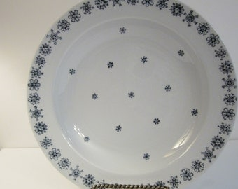 Snowflake Pattern Arabia Finland Salad Bowl - Blue and White Dish