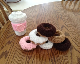 Crochet Coffee and Three Doughnuts, Made to Order