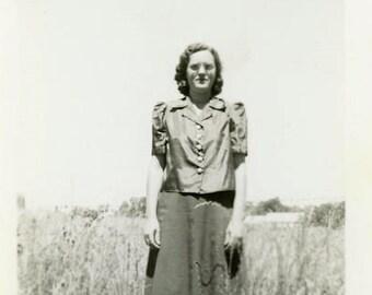 "Vintage Photo ""The Grass Statue"" Woman Snapshot Photo Old Antique Photo Black & White Photograph Found Photo Paper Ephemera Vernacular - 183"