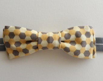 Honeycomb Bow Tie in Yellow, Gray // Twill, Vintage Cotton, Modern