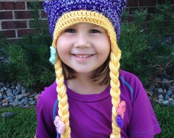 Rapunzel Princess Crochet Beanie Braids Hat with Earflaps