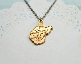 Vintage West Virginia Necklace - State Necklace - West Virginia State - Huntington - Charleston - State Jewelry - West Virginia Jewelry