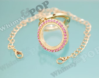 1 - Pink Crystal Memory Floating Round Locket Bracelet in Gold Tone Finish, Floating Locket, Photos and Floating Charms, 30mm (2-2G)