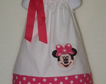 Minnie Mouse Pillowcase Dress / Pink / Disney / Mickey / Infant / Baby / Girl / Toddler / Birthday / Handmade / Custom Boutique Clothing