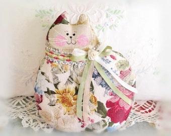 Cat Pillow Doll Cloth Doll 7 inch Cat, Floral Decorator Fabric ,Primitive Soft Sculpture Handmade CharlotteStyle Decorative Folk Art